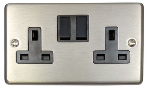 G&H CSS10B Standard Plate Brushed Steel 2 Gang Double 13A Switched Plug Socket