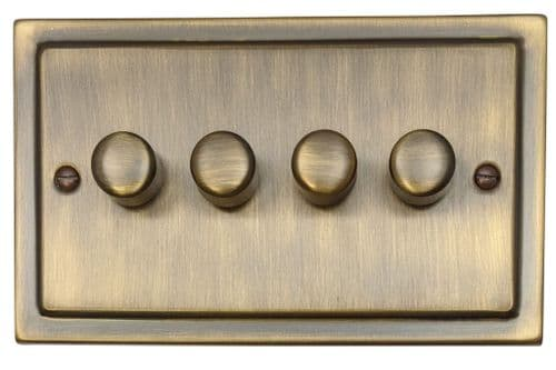 G&H TAB14 Trimline Plate Antique Bronze 4 Gang 1 or 2 Way 40-400W Dimmer Switch