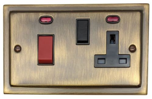 G&H TAB29B Trimline Plate Antique Bronze 45 Amp DP Cooker Switch & 13A Switched Socket