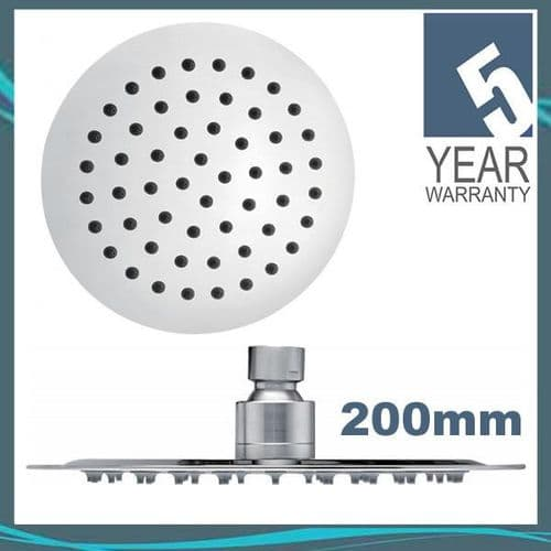 Pura KI075 Chrome Plated Round Slimline 200mm Steel Shower Head with Swivel Joint