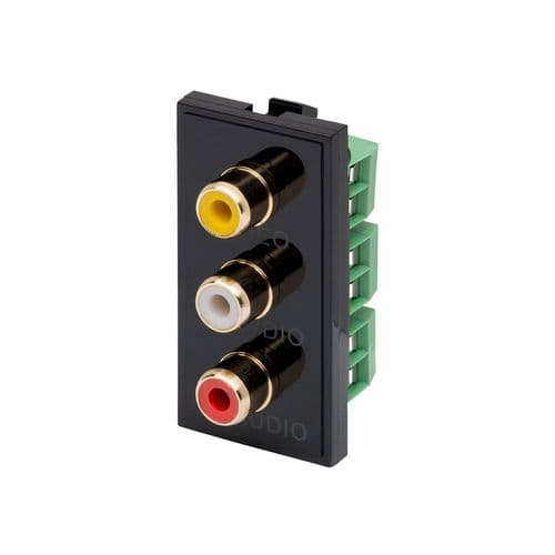 RT Triple RCA (25mmX50mm) Black 09033