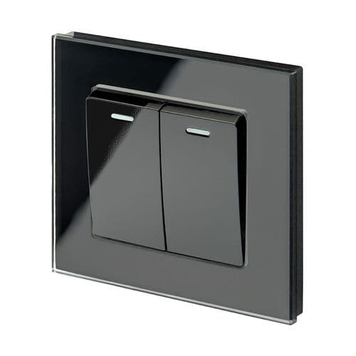 RetroTouch 2 Gang 1 Way 10A Pulse/Retractive Light Switch Black Glass PG 00218