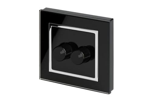 RetroTouch 2 Gang 2 Way Dimmer Switch 3-200W LED & Halogen Black Glass CT 02061