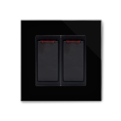 RetroTouch 20 Amp Double Pole Dual Switch with Neon Black Glass PG 04203