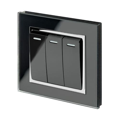 RetroTouch 3 Gang 1 or 2 Way 10A Rocker Light Switch Black Glass CT 00241