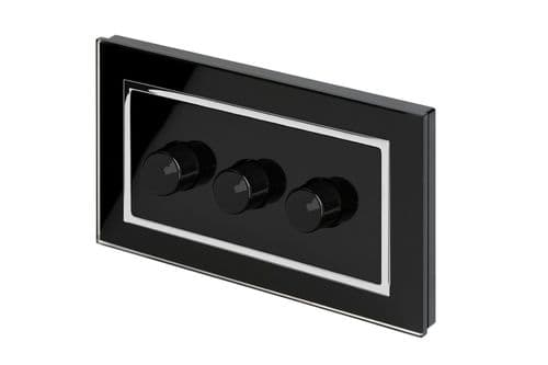 RetroTouch 3 Gang 2 Way Dimmer Switch 3-200W LED & Halogen Black Glass CT 02081