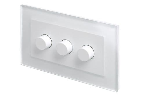 RetroTouch 3 Gang 2 Way Dimmer Switch 3-200W LED & Halogen White Glass PG 02082