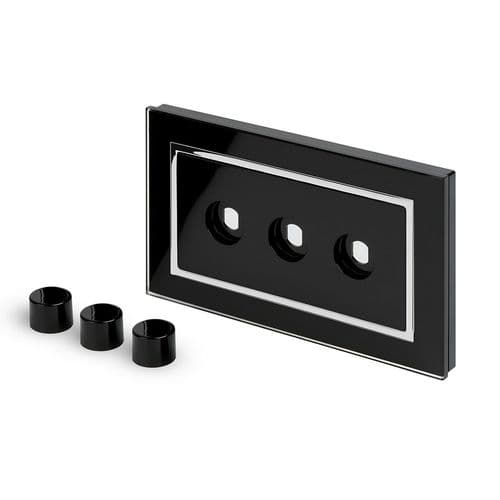 RetroTouch 3 Gang LED Dimmer Plate Black Glass CT 02091
