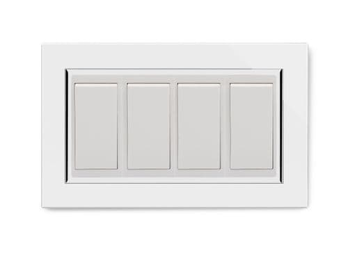 RetroTouch 4 Gang 20 Amp Double Pole Switch White Glass CT 04541