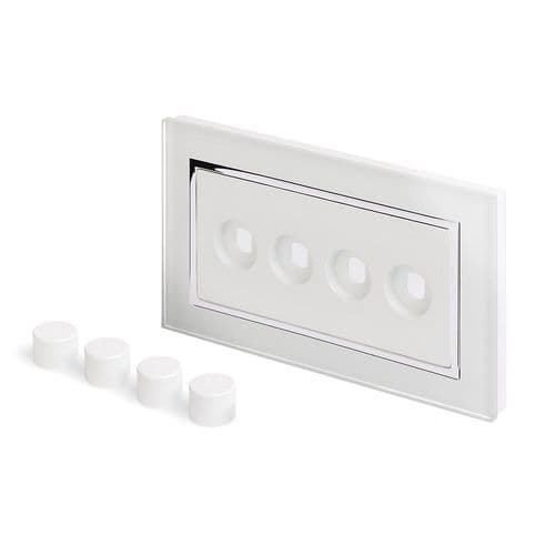 RetroTouch 4 Gang LED Dimmer Plate White Glass CT 02110
