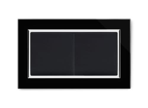 RetroTouch Double Blank Plate Black Glass CT 00672