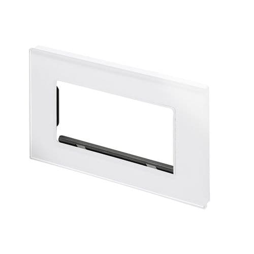 RetroTouch Euro Data Plate Double (4 Module Space) White Glass PG 00177