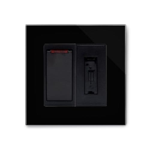 RetroTouch Fused Spur Switch 13A Black Glass PG 01706