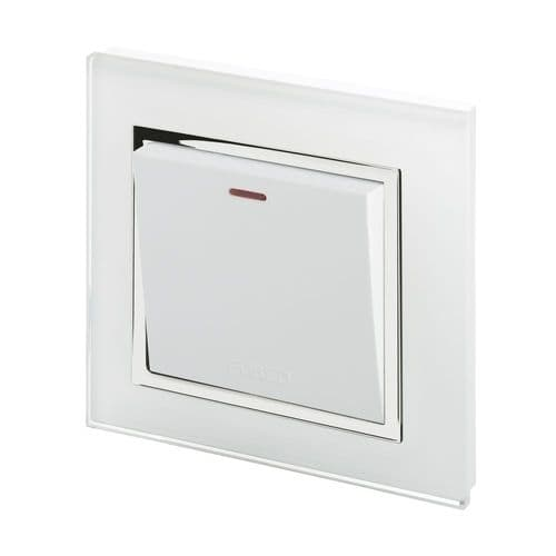RetroTouch Fused Spur Switch 13A White Glass CT 01760