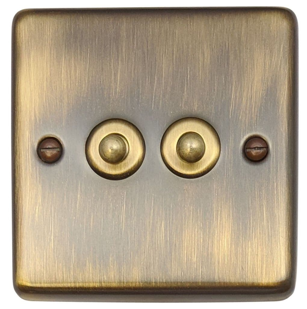 G H Cab282 Standard Plate Antique Bronze 2 Gang 1 Or 2 Way Toggle Light Switch
