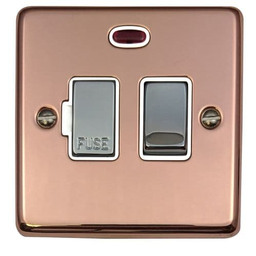 G&H CBC227 Standard Plate Bright Copper 1 Gang Fused Spur 13A Switched & Neon