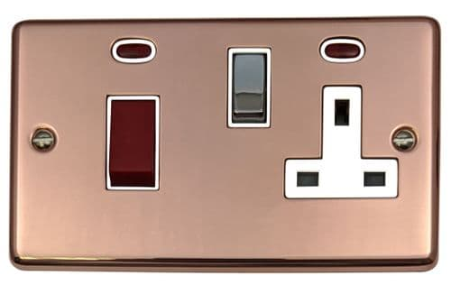 G&H CBC229 Standard Plate Bright Copper 45 Amp DP Cooker Switch & 13A Switched Socket