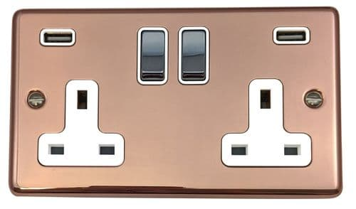 G&H CBC2910 Standard Plate Bright Copper 2 Gang Double 13A Switched Plug Socket 2.1A USB