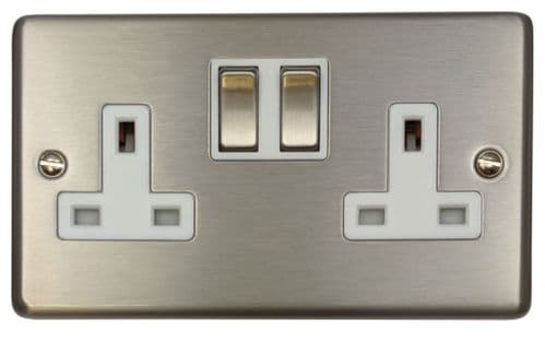 G&H CSS210 Standard Plate Brushed Steel 2 Gang Double 13A Switched Plug Socket