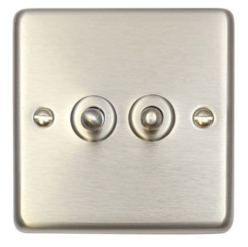 G&H CSS282 Standard Plate Brushed Steel 2 Gang 1 or 2 Way Toggle Light Switch