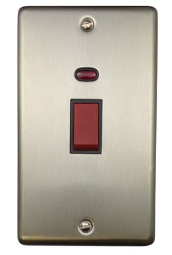 G&H CSS28B Standard Plate Brushed Steel 45 Amp DP Cooker Switch & Neon Vertical Plate