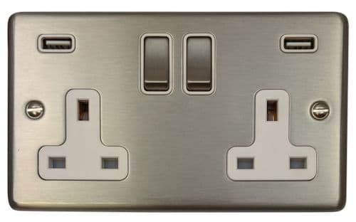 G&H CSS2910 Standard Plate Brushed Steel 2 Gang Double 13A Switched Plug Socket 2.1A USB