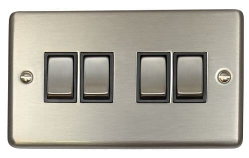 G&H CSS304 Standard Plate Brushed Steel 4 Gang 1 or 2 Way Rocker Light Switch