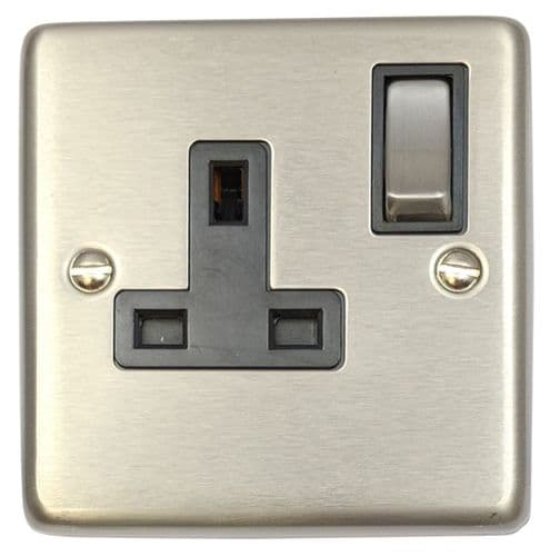 G&H CSS309 Standard Plate Brushed Steel 1 Gang Single 13A Switched Plug Socket
