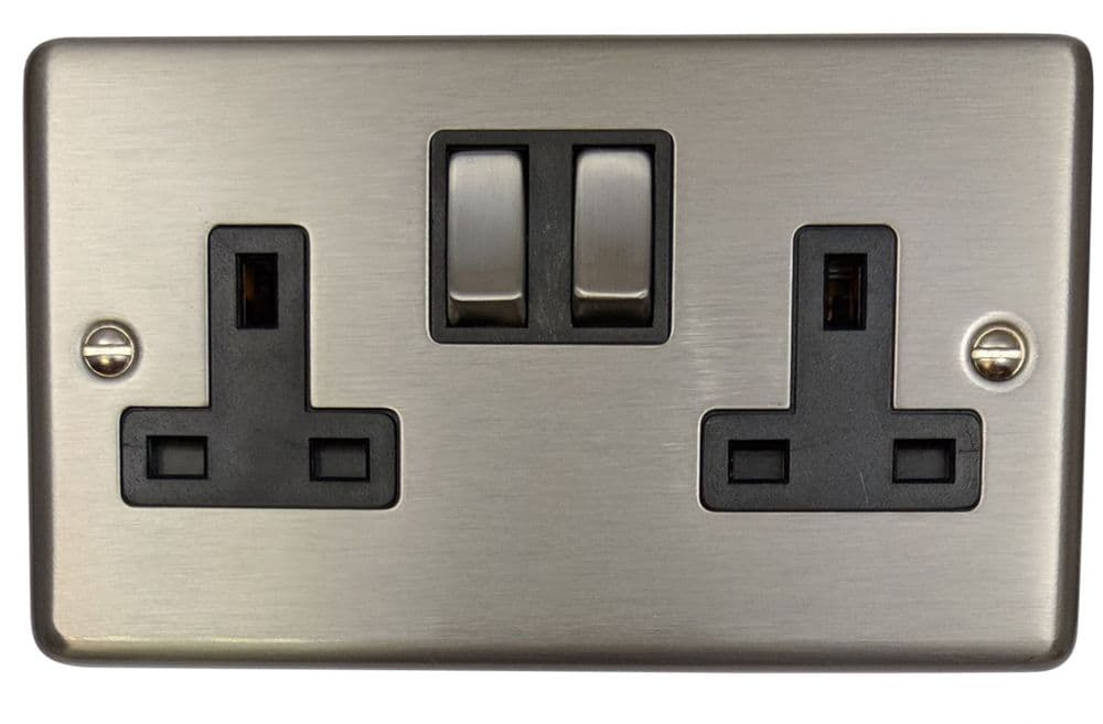 G&H CSS310 Standard Plate Brushed Steel 2 Gang Double 13A Switched Plug Socket