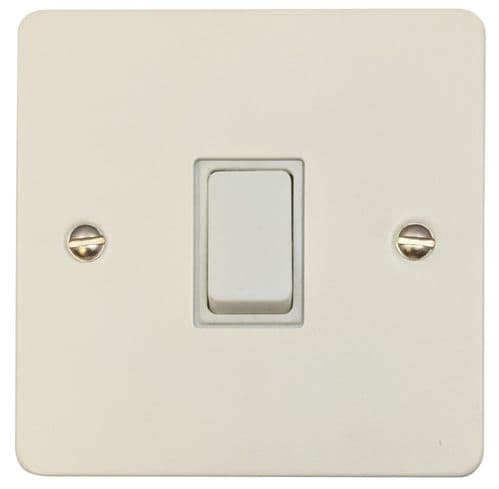 G&H FW1W Flat Plate Matt White 1 Gang 1 or 2 Way Rocker Light Switch