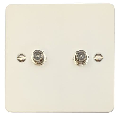 G&H FW237 Flat Plate Matt White 2 Gang Satellite Socket Point