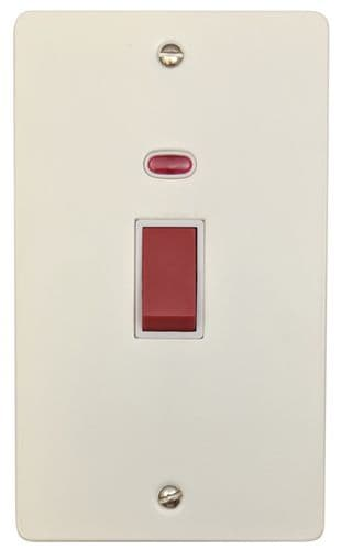 G&H FW28W Flat Plate Matt White 45 Amp DP Cooker Switch & Neon Vertical Plate