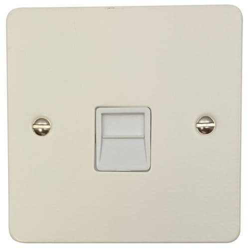 G&H FW34W Flat Plate Matt White 1 Gang Slave BT Telephone Socket