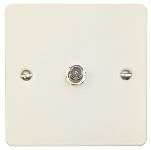 G&H FW37 Flat Plate Matt White 1 Gang Single Satellite Point Socket