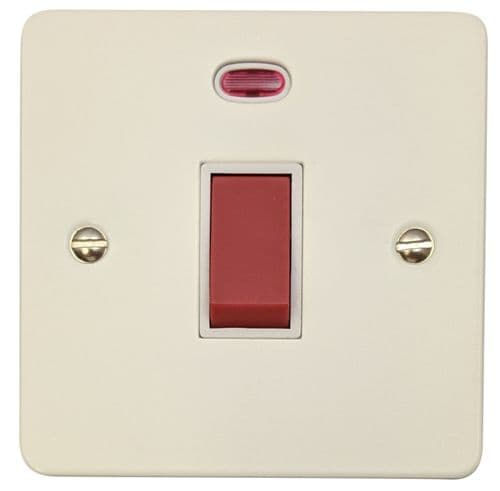 G&H FW46W Flat Plate Matt White 45 Amp DP Cooker Switch & Neon Single Plate