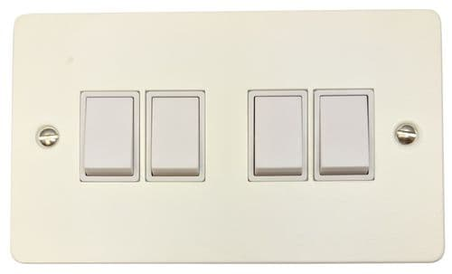 G&H FW4W Flat Plate Matt White 4 Gang 1 or 2 Way Rocker Light Switch