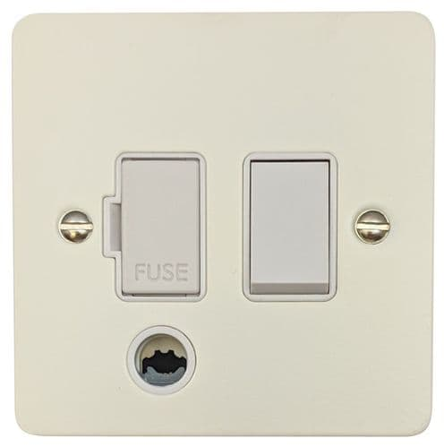 G&H FW56W Flat Plate Matt White 1 Gang Fused Spur 13A Switched & Flex Outlet