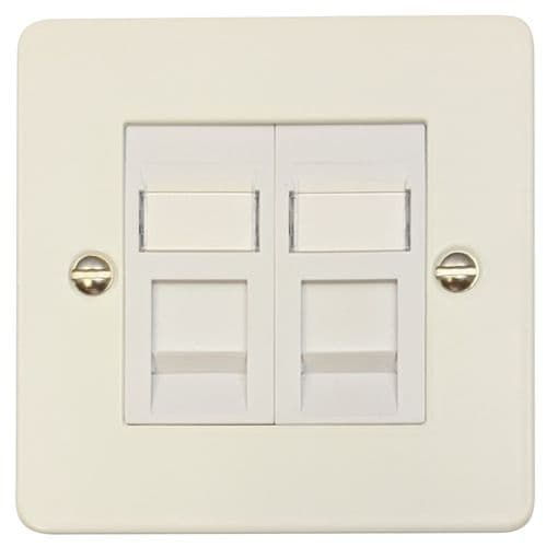 G&H FW64W Flat Plate Matt White 2 Gang Slave BT Telephone Socket