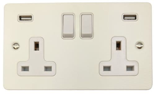 G&H FW910W Flat Plate Matt White 2 Gang Double 13A Switched Plug Socket 2.1A USB