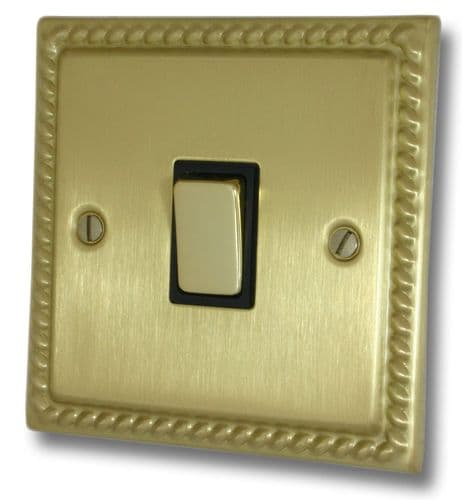 G&H MSB301 Monarch Roped Satin Brushed Brass 1 Gang 1 or 2 Way Rocker Light Switch