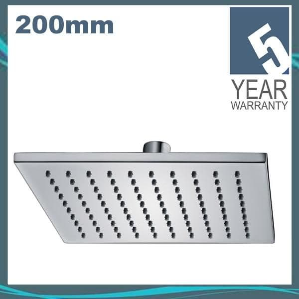 Pura KI073 Chrome Plated Square Deluxe 200mm Brass Shower Head with Swivel Joint