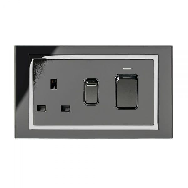 RetroTouch 45 Amp DP Cooker Switch With 13A Socket Black Glass CT 01841