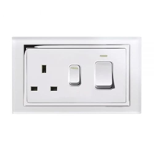 RetroTouch 45 Amp DP Cooker Switch With 13A Socket White Glass CT 01840
