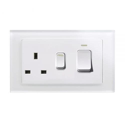RetroTouch 45 Amp DP Cooker Switch With 13A Socket White Glass PG 01842