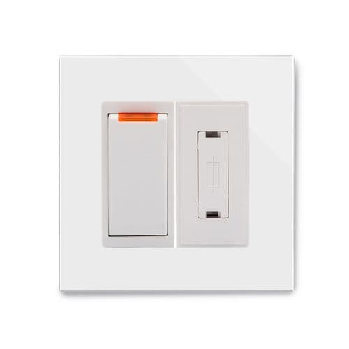 RetroTouch Fused Spur Switch 13A White Glass PG 01701