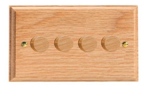 Varilight HK44O Kilnwood Oak 4 Gang 2-Way Push-On/Off Dimmer 40-250W V-Dim