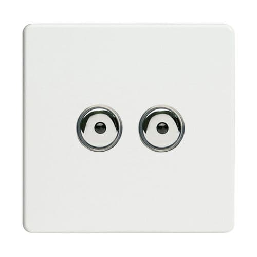 Varilight IJDQI102S Screwless Premium White 2 Gang 1-Way Remote/Touch Master LED Dimmer 0-100W