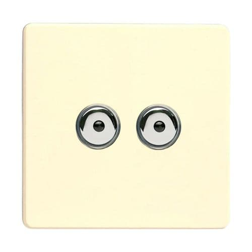 Varilight IJDWI102S Screwless White Chocolate 2 Gang 1-Way Remote/Touch Master LED Dimmer 0-100W