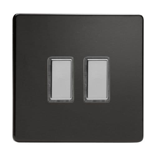 Varilight JDLES002S Screwless Premium Black 2 Gang Touch Dimming Slave (use with V-Pro Master)