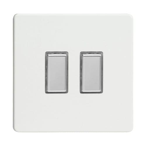 Varilight JDQES002S Screwless Premium White 2 Gang Touch Dimming Slave (use with V-Pro Master)